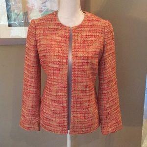 Talbots Orange and Red Tweed Blazer